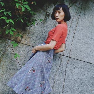Thousand bird grid embroidered lace skirt