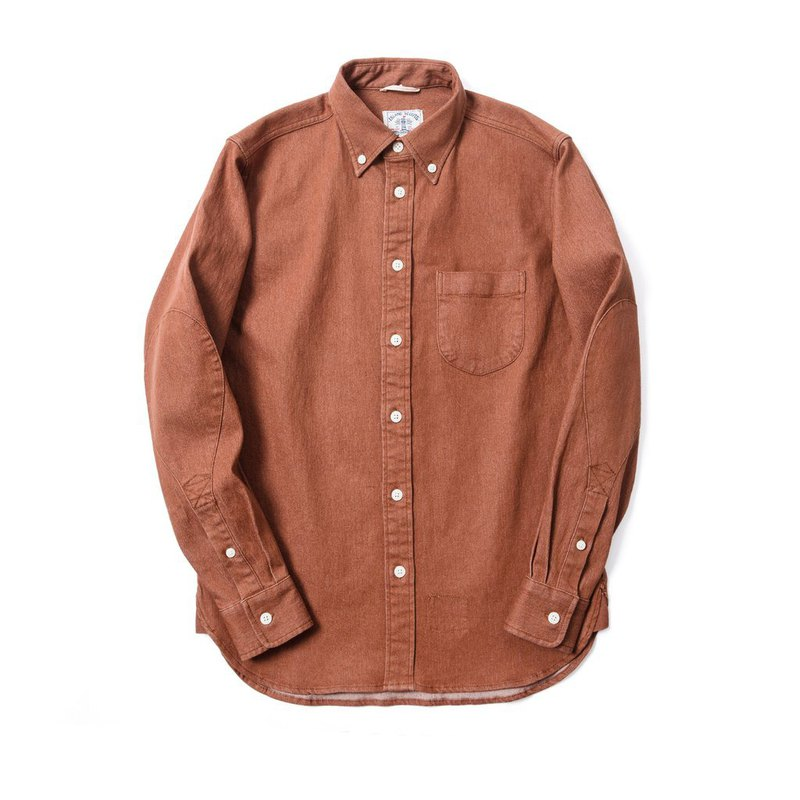 Stretch Denim Long Sleeve Elbow Patch Shirt in Brown