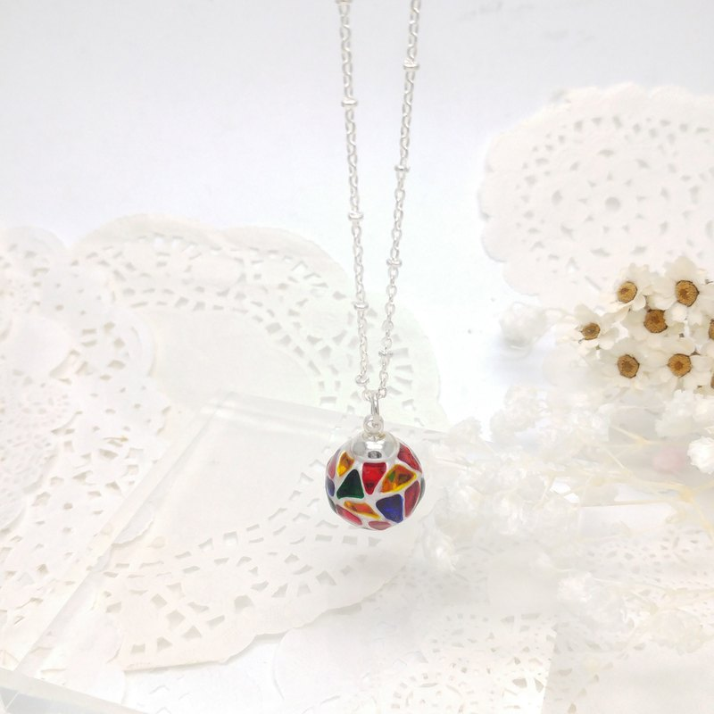 Painted Glass ball Necklace (M) with Metal chain