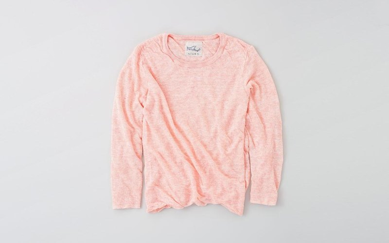 Linen knit women / S long sleeve pullover pink