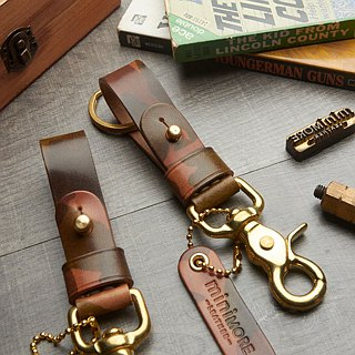 Camouflage Leather Key Fob BRASS belt loop  // Personalize name //Keychai