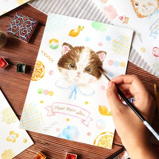Pinkoi product school, September healing system, Iridium cat portrait watercolor illustration experience