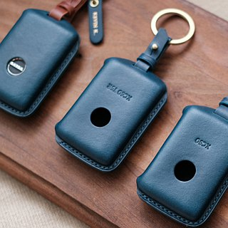 Car key holster handmade buttero VOLVO with hot stamping small leather gift / Ji.co