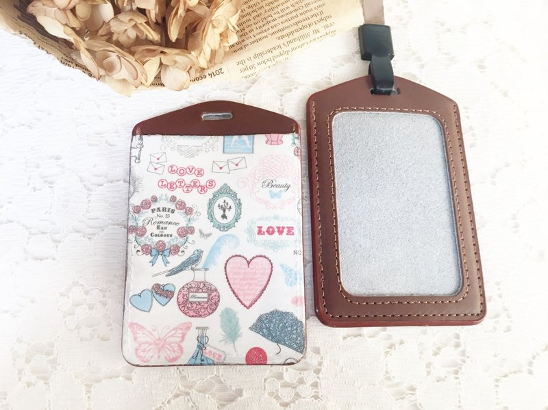 "Handmade Gifts ""manual pickup really sets"" perfume leather ticket folder / document sets / badge / Valentine's Day birthday gift exchange (lanyard)"