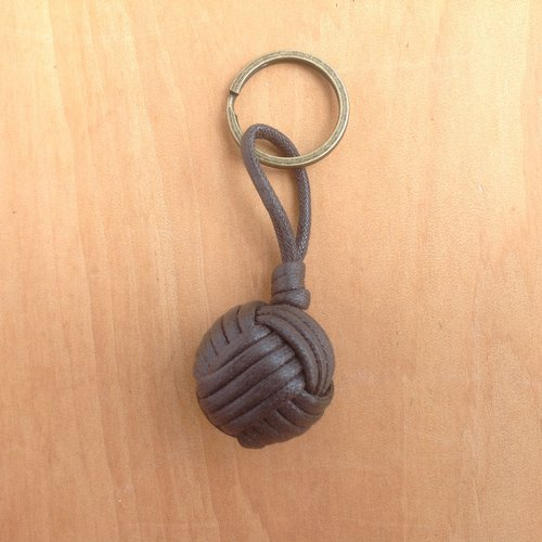 Monkey fistknot key ring - Sailor key - deep coffee