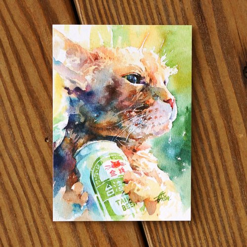 Watercolor Painted Haired Baby Series Postcard - 喵 喵 喵 喵 喵 喵 喵 喵