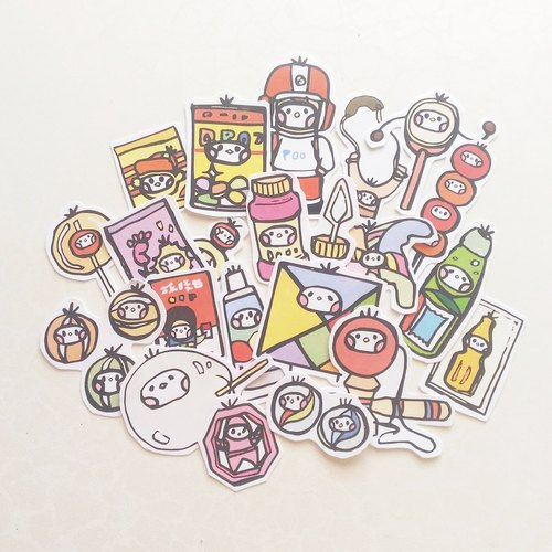 Cloth seed biological mandarin shop illustration stickers