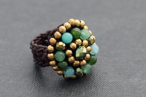 Jade Knitted Woven Ring Cocktail Party Czech Beads