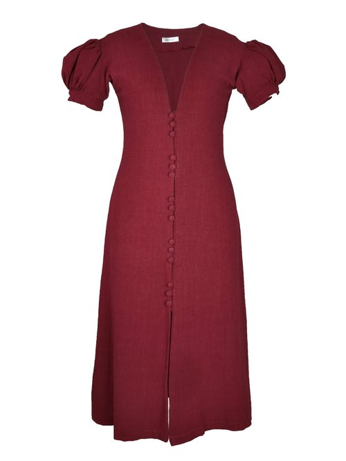 Balloon Sleeve Midi Dress