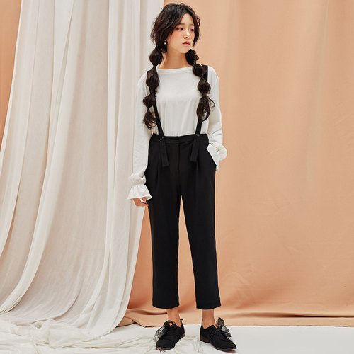 Anne Chen 2017 autumn new ladies solid color strap pants