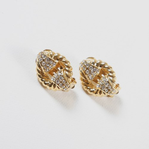 [Egg Plant Vintage] Twin Spiral Vintage Clip-On Antique Earrings