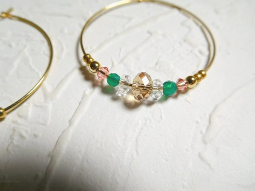 Hit color Swarovski crystal green agate elegant big circle earrings