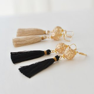 イヤリング/Long tassel earrings /Antique star