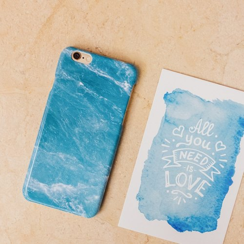 Original Imitated  Ocean Blue Marble Phone case (iPhone model) with hard shell back case