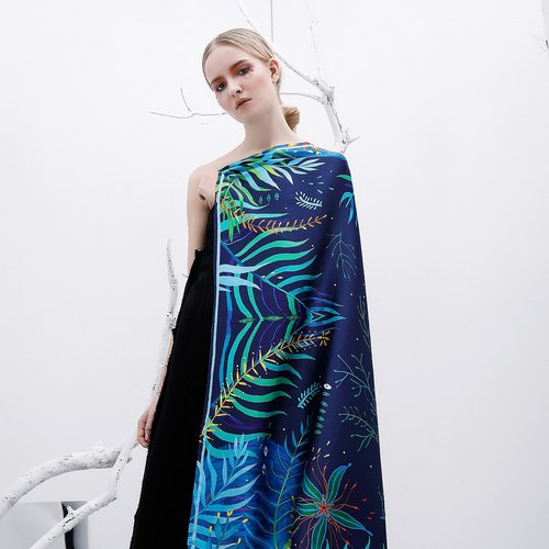 110*110cm printed silk satin scarf multi-purpose large shawl scarf [LAN Hong Kong ECRONIC] stone and moss