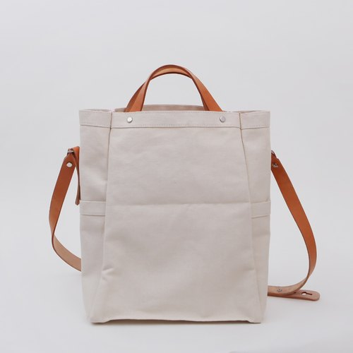 Vertical section hand strap portable literary travel canvas tote shoulder tote bag men and women