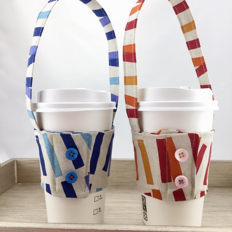 Simple and modern style - Coffee cup set with a strap - Couples Mady two into the group / can be fixed straw