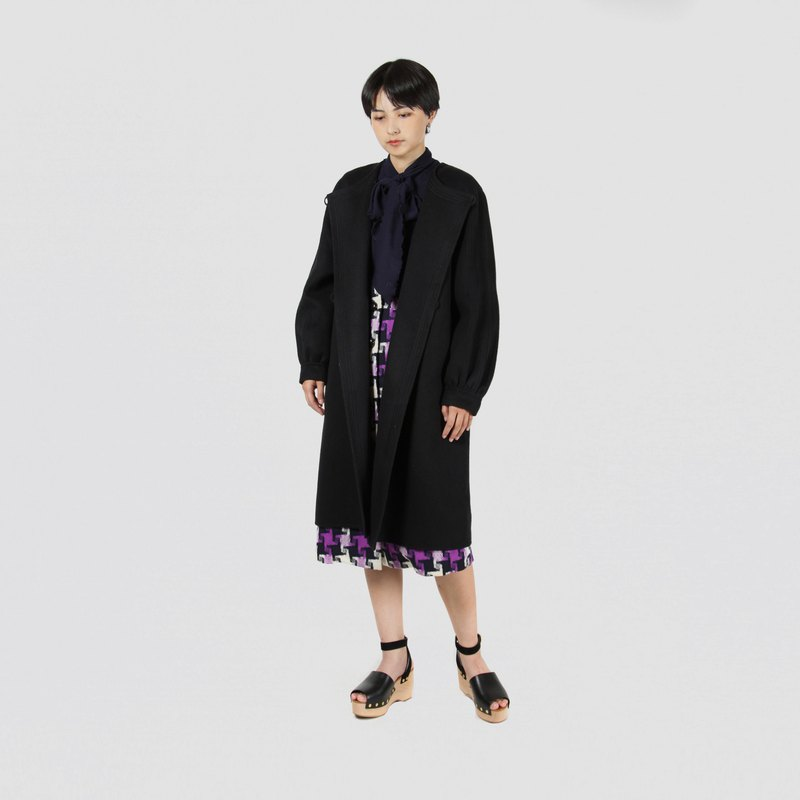 [Egg Plant Vintage] 100% Kashmir wool top fabric vintage coat
