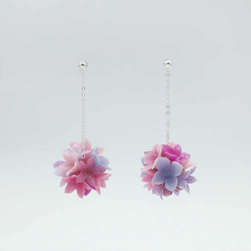 Pamycarie Spring & Summer Resin Clay Flower Ball 925 Silver Earrings