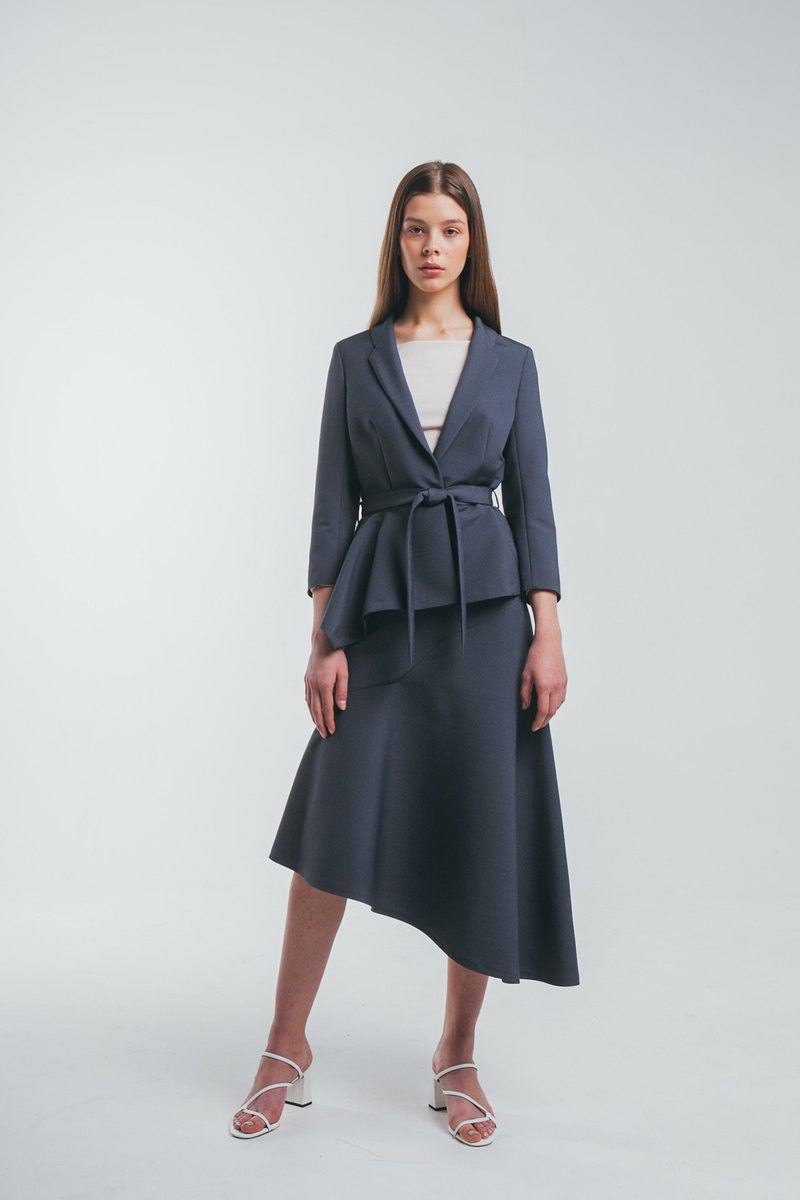 Asymmetric hem jacket and midi skirt