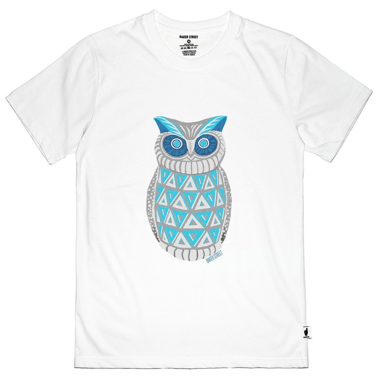 British Fashion Brand -Baker Street- Blue Owl Printed T-shirt