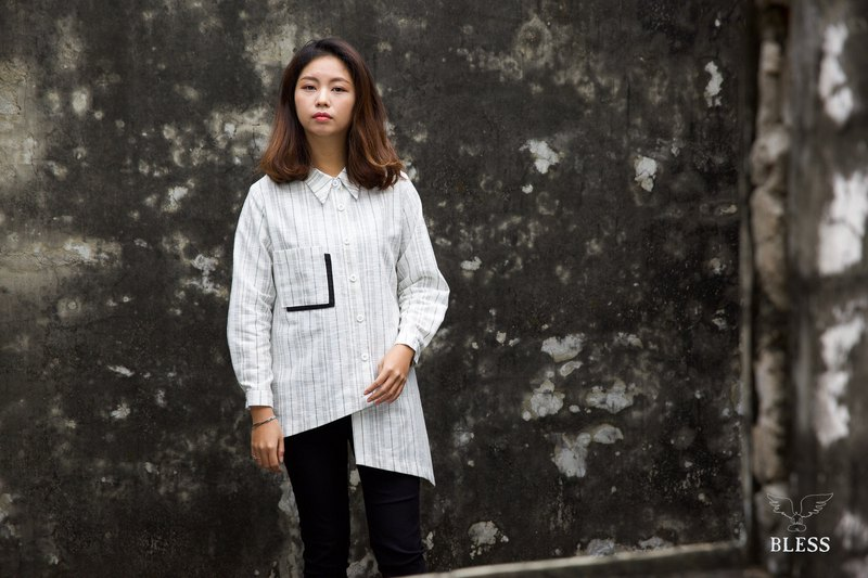 Japan imported cotton linen asymmetric striped shirt