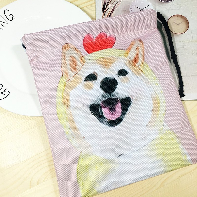 Chick Chai / thickened beam pocket (hand-painted dog cell phone bag. Cosmetic bag. Parcel. Christmas gift)