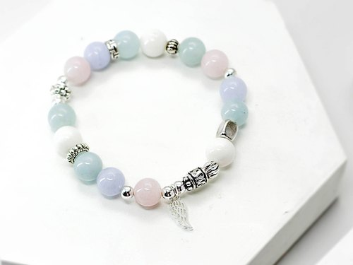 Pink sea love natural stone bracelet silver │ │ pink unicorn Tibetan silver gift birthday birthday blue sapphire blue agate crystal Valentine's Day boudoir
