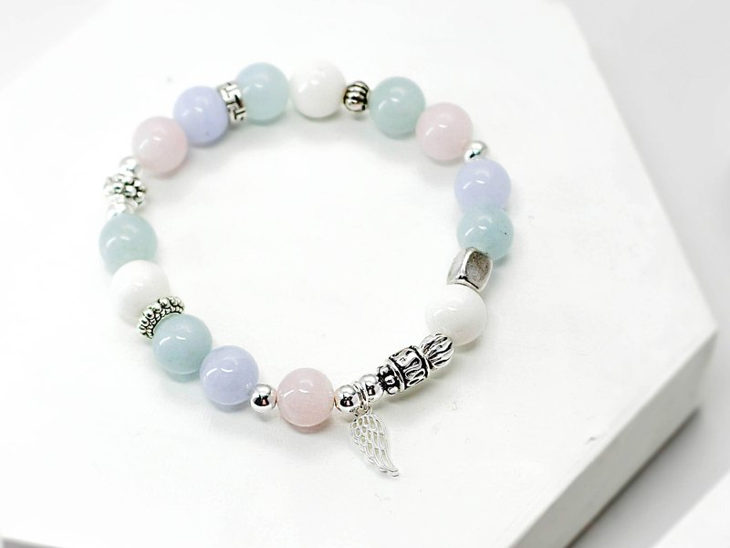 Pink sea love natural stone silver bracelet │ pink 玥unicorn sea sapphire blue agate
