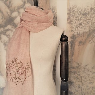 Hand Embroidery Scarf  (Lady in flowers)
