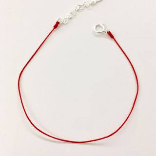 *Le Bonheur Line Happiness Line*Superfine special red line No jewelry minimalist / head and tail round sterling silver extension chain
