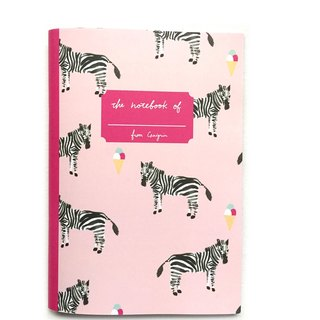 Zebra Grid Notebook | Watercolor Animal Notebook with Ice cream, Pink Notebook