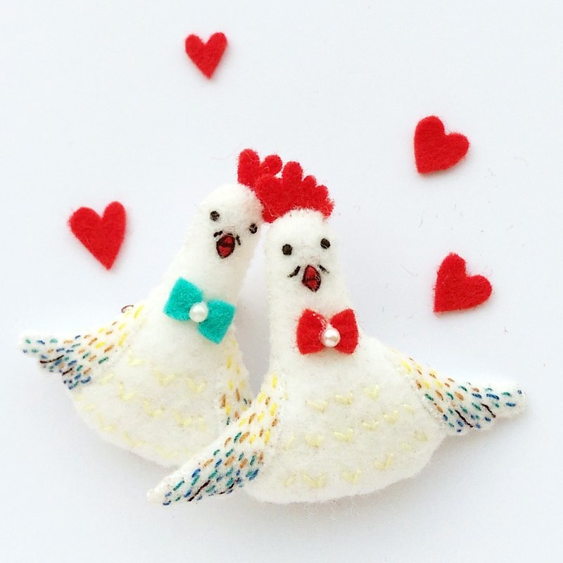 \\鸡‧情‧四‧射// Valentine's Day big chicken key ring / pin / magnet (pair)