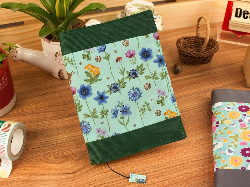 [Book's clothing] limited A6 / 50K adjustable multi-function cotton book cover / cotton book cover-F blue flower / blue