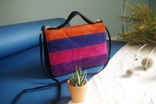 European vintage antique bag - England suede bright color square antique bag