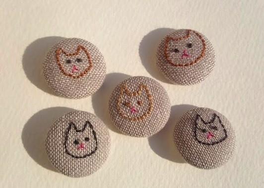 Embroidery of cat button set*Brown*