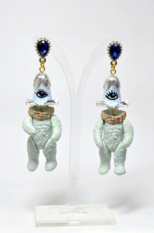TIMBEE LO silver monocular lily of the valley bear monster earrings art accessories series sold only