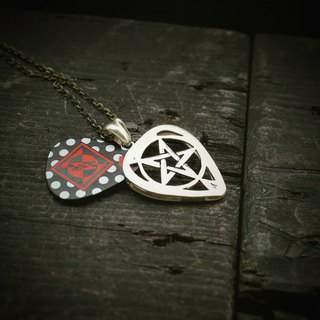 Simple guitar pick down five-pointed star silver pendant