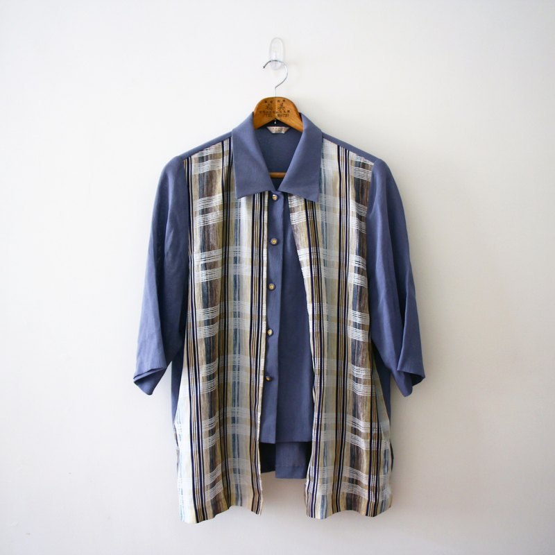 Japanese blue plaid fifth sleeve shirt
