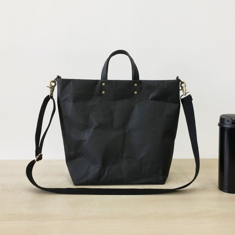 Washable paper black tote bag (commuter bag, briefcase, school bag, handbag, cross-body bag)
