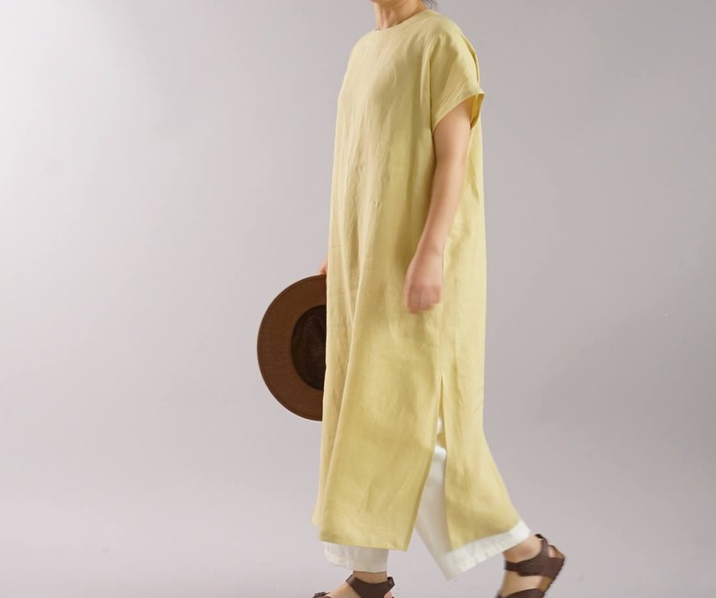wafu   linen dress / oversize / loose fitting / long lengthe / yellow / a41-60