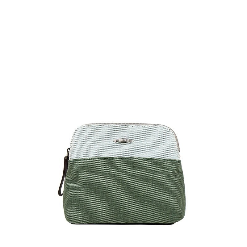 Two-color woven canvas cosmetic bag - forest green