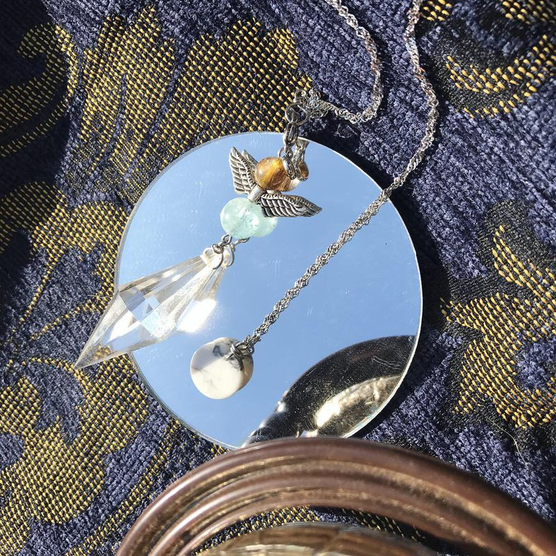 [Lost and find] natural stone angel blue needle crystal spirit pendulum necklace