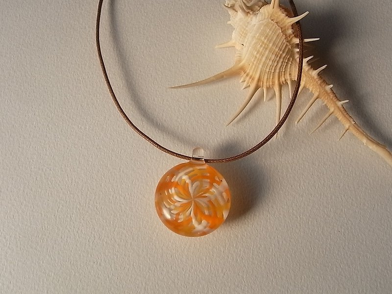 Fragrant olive Geometric pattern Pendant Glass Handmade