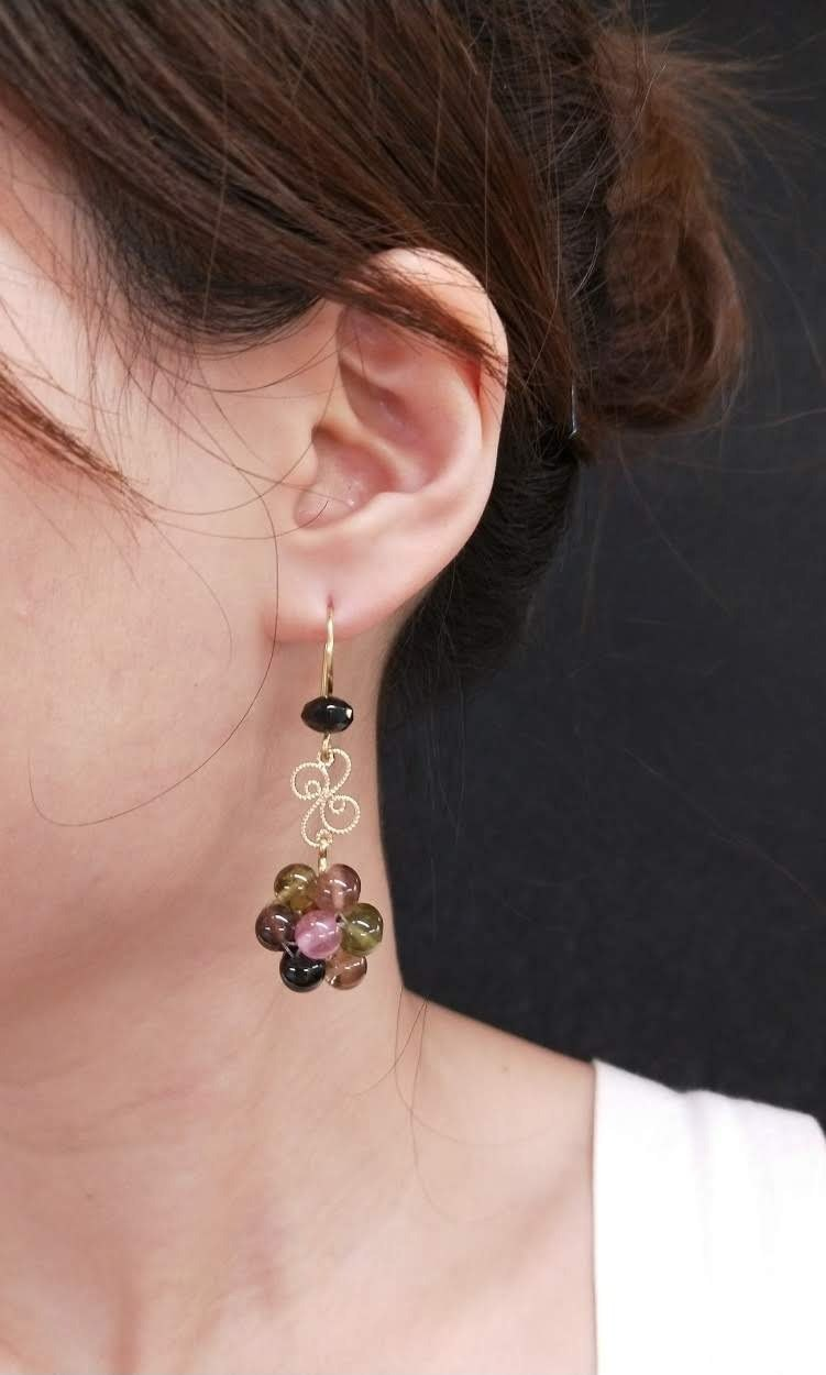 earring. Tourmaline four beads ball court wind ear hook ear clip earrings
