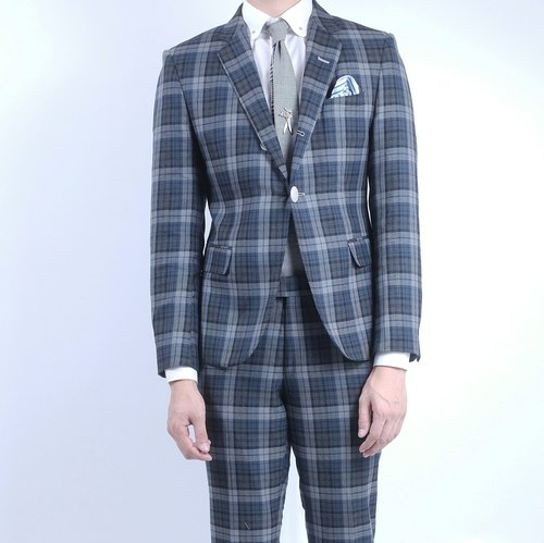 HIATUS fog gray-blue plaid suit suit