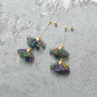 Tassel earrings/green flower