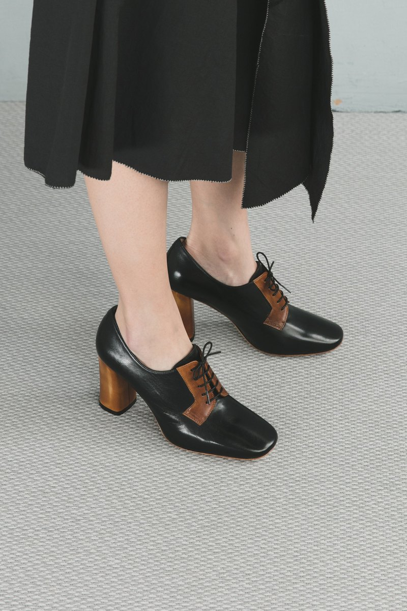 H THREE 8.5 Derby high heels / black / high heels / leather shoes