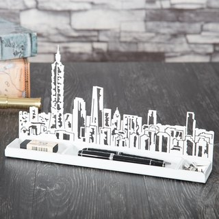 [] OPUS Dong Qi metalworking skyline - Taipei impression Storage Rack (Black) / business card stationery letter multifunction storage box / CD model doll creative display stand / candlestick incense holder / pen holder penholder MU-bu02 (W)
