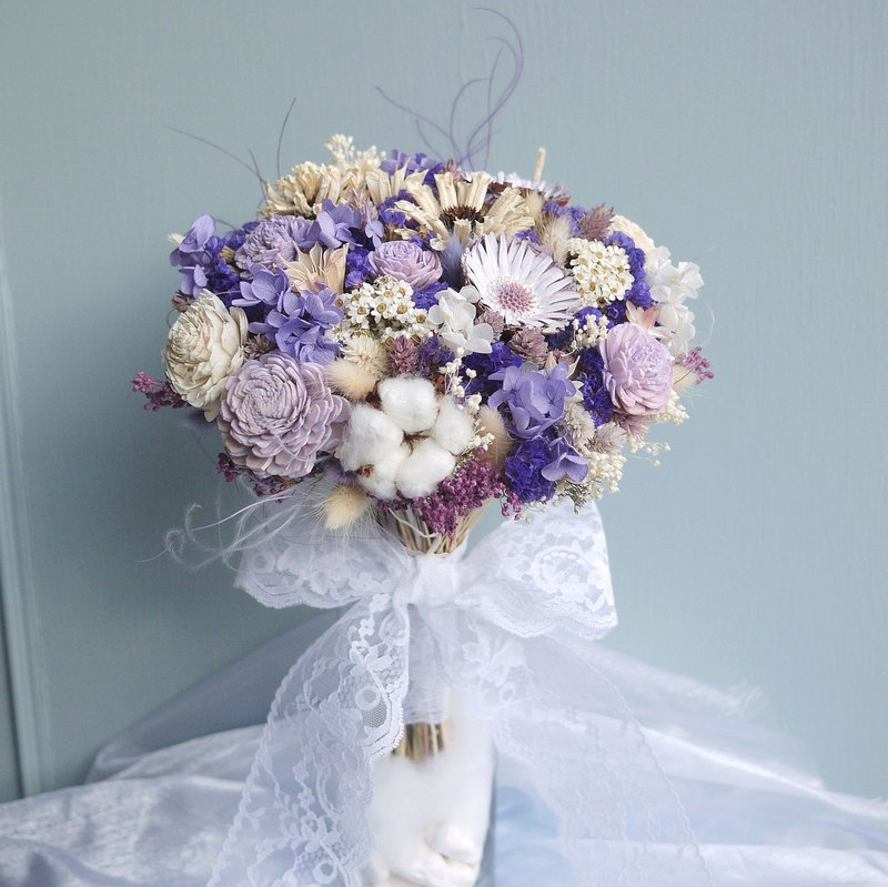 Wedding Collection - Dreamy purple and white dry flower bridal bouquet (holding bouquet box)